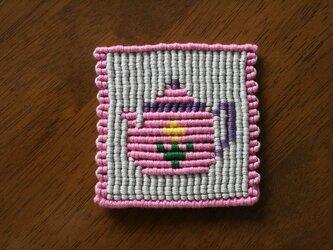 漂白剤が使えるマクラメ編み ティーポットのコースターの画像