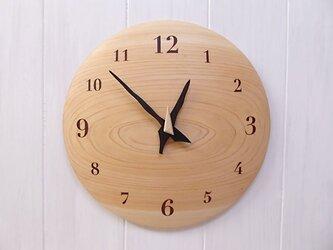 ヒノキ 26㎝ 曲面時計euph 008s 文字盤茶色の画像