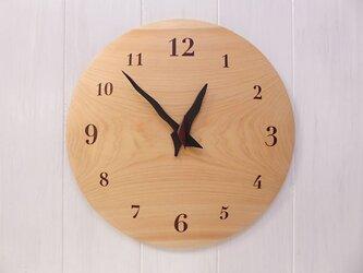 ヒノキ 30㎝ 曲面時計euph 016s 文字盤茶色の画像