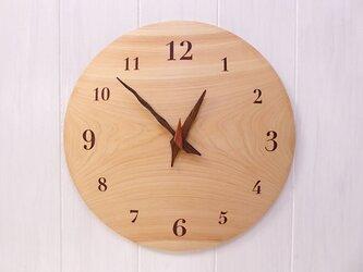 ヒノキ 30㎝ 曲面時計euph 018s 文字盤茶色の画像