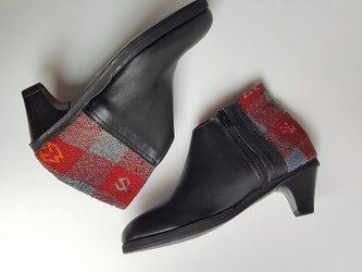 フレンチモロッコ キリム エレガントブーティ 黒/  red blue Plaid 23.5cm~24cm 38の画像
