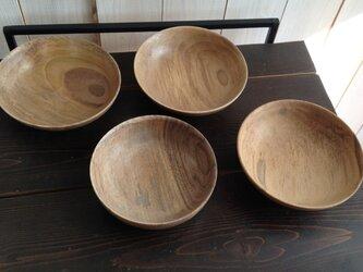 クルミの木のお皿 4枚セット 【033】の画像
