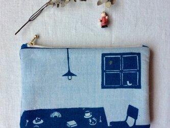 藍染 ポーチ 「コーヒとお菓子と小さな窓辺」の画像