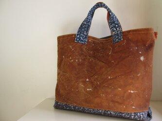 柿渋帆布+裂き織りバッグの画像