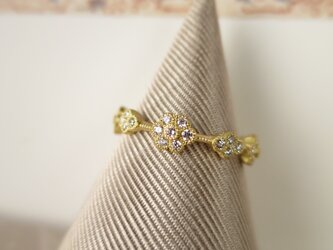 K18 Wreath of Flowers Diamond Ringの画像