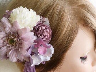 パープルタッセルのコサージュ・髪飾りにも【造花・ドライ】の画像