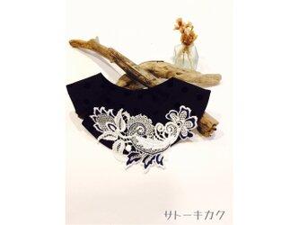 つけ襟☆ドットフロッキー ×刺繍レース(紺)【送料無料】の画像