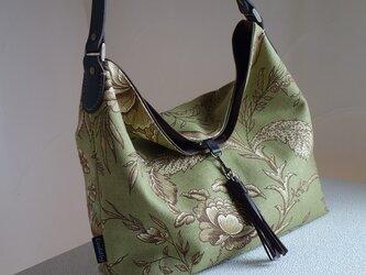 ワンハンドルのくったりバッグ(輸入生地: ウェバリーグリーン)の画像