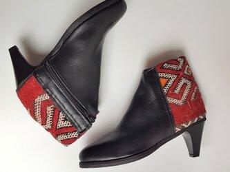 フレンチモロッコ キリム エレガントブーティ 黒/  high heel red 23.5cm~24cm 38の画像