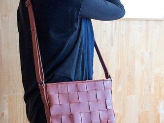 ソファ用牛革製 / ショルダーバッグ/ 赤茶色の画像