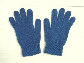 ◆天然灰汁発酵建て 本藍染◆ ウール&シルクのあったか手袋の画像