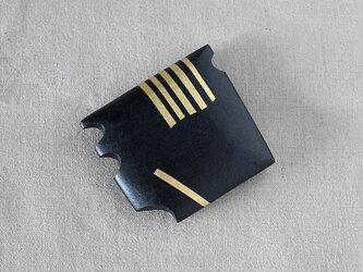 手鏡 small 直径3㎝ 幾何学模様(ブラック&ゴールド)stripeの画像