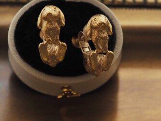 うさぎイヤリング ホーランドロップイヤー(ゴールド)の画像