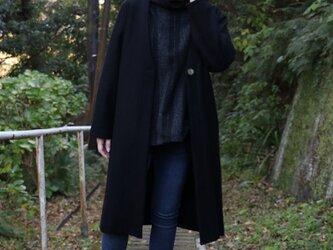 圧縮ウール  ガウンコート黒の画像