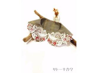 つけ襟☆ グレンチェック×刺繍レース(赤×茶) 【送料無料】の画像