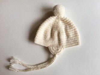  SALE  耳あてつきポンポンニット帽子 1〜2歳の画像
