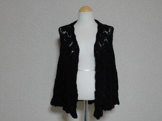 ベビーアルパカのブラック(黒)色 半円形ショールの画像