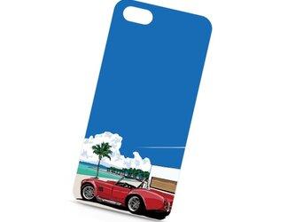 南国イラスト・スマホケース(ハードケース型)iPhone&Android対応 フロリダの海とオープンカー(コブラ)のイラストの画像