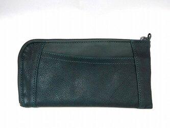 ハーフラウンド型 長財布(シュリンク エメラルド2)の画像