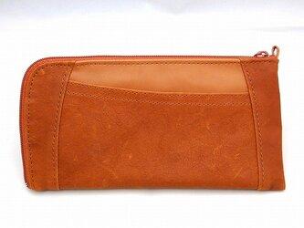 ハーフラウンド型 長財布(キャメル)の画像