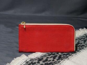 Silky red ItalyLeaterなめらかファスナーL字長財布#スマホ収納可能《送料無料》サービス品の画像