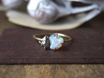 原石のオパールとパイライトのリングの画像