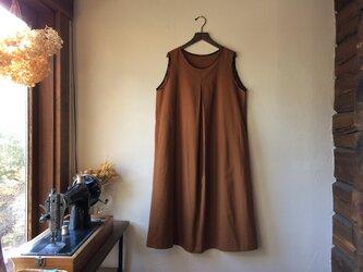 うさぎのシンプルワンピース025(綿ウール・金茶) 銘仙リメイク きもの 古布の画像