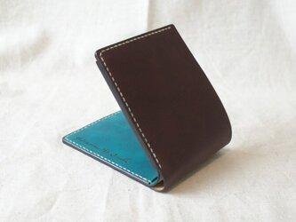 二つ折り財布《DarkBrown&TurquoiseBlue》の画像