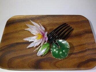 睡蓮の簪(白とピンクのグラデーション:コーム)の画像