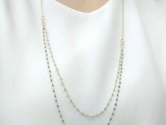 K18 blue &milky diamond necklaceの画像