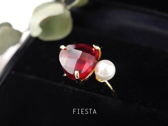 ガーネットとパール★赤いガラスの指輪の画像