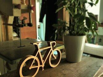 【送料無料】wood Road bike オブジェ 外枠付き!天然無垢飛騨産材/栃 自転車のオブジェ his-228の画像