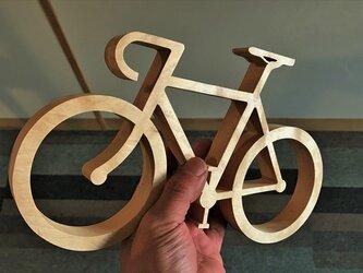 【送料無料】wood Road bike オブジェ 外枠付き!天然無垢飛騨産材/栃 自転車のオブジェ his-227の画像