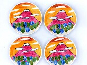 夕焼けの富士山(14cm色絵皿)の画像