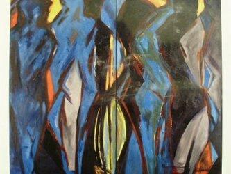 絵画 インテリア 大作 油絵 一点もの キャンバス画  群像 1の画像