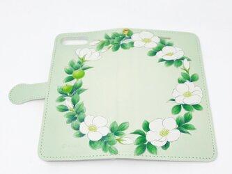 手帳型スマホカバー / 和バラのリースの画像