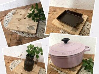 wood plate* 木製 ポットマット 鍋敷きの画像