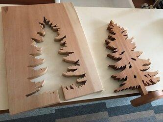 【送料無料】wood Tree 木のオブジェ 外枠付き! 【1点もの】天然無垢/飛騨産材/『桂』材 his-285の画像