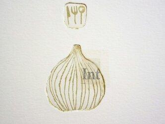 銅版画カード・玉ねぎ<キッチン>の画像