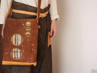 柿渋帆布+手織りショルダーバッグの画像