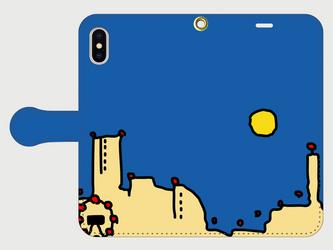 横浜イラスト・スマホケース(手帳型)iPhone&Android対応 横浜「みなとみらい」のカワイイ夜景のイラスト♪の画像