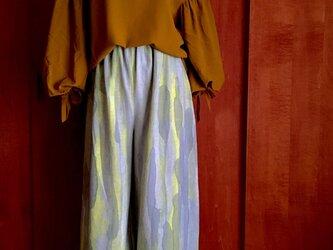 手描き染め 裾に差し色ロングワイドパンツ ◇受注制作◇の画像
