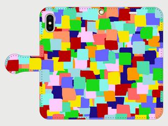グラフィカル柄のスマホケース(手帳型)iPhone&Android対応 ポップ&カラフルでカワイイグラフィックのイラスト♪の画像
