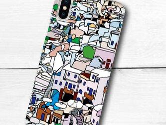サントリーニ島の街並みのイラスト スマホケース(ハードケース型)iPhone&Android対応の画像