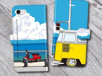 湘南イラスト・スマホケース(手帳型)iPhone&Android対応 湘南の海岸線を走るワーゲンバスのイラスト♪の画像