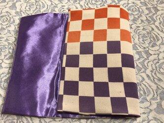 ブックカバー 新書本用  市松柄 オレンジ×紫の画像