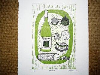 版画【ワインとチーズ・シェーブル】の画像