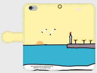 湘南イラスト・スマホケース(手帳型)iPhone&Android対応 江ノ島灯台と湘南の海に沈む夕日のイラスト♪の画像