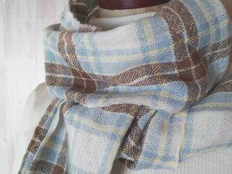 手織り カシミヤタータンチェックマフラー ブルードレス 313の画像