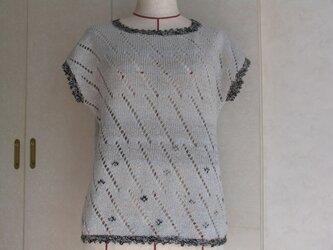 《値下しました》レース編みと、刺繍がしてあるフレンチ袖のベストの画像